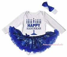 Happy Hanukkah Cotton White L/S Bodysuit Blue Candle Girls Baby Dress Set NB-18M