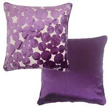 "Purple Spot Circle Dot Chenille Faux Silk Reversible Cushion Cover 17"" - 43cm"