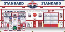 STANDARD OIL GAS PUMPS SERVICE STATION SCENE MURAL BANNER GARAGE ART SIGN 2 X 4