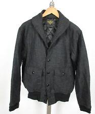 COCKPIT USA Gray Plaid Deck Jacket Wool Blend Sz L Shawl Collar