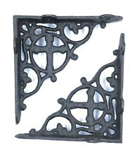 Set of 2 Shelf Brackets Supports Cast Iron Cross Design Medieval