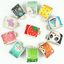 Baby Cups Bamboo Drinkware with Handle Kids Feeding Train Cups Cartoon BPA Free