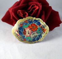 Vintage Signed Painted Wood Flowers   Pin Brooch CAT RESCUE