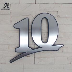 Edelstahl Hausnummer 10, 17cm,20cm,30cm,1-999,abcde, anthrazitgraues Plexiglas