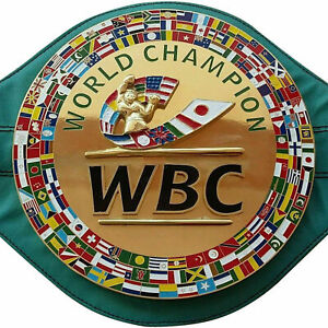 SH WBC Boxing Champion Belt Title Adult Full Size 3D Logo Leather Metal Plates
