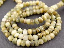 """HAND FACETED CAT'S EYE CHRYSOBERYL RONDELLES, approx 4mm, 13"""", 110 beads"""