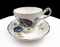 """REGENCY CHINA BLUE AND GREEN LEAVES 2 7/8"""" CUP AND SAUCER SET"""