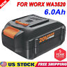 20 Volt 6.0AH WA3520 WA3575 For WORX 20V Max Lithium Ion Battery WG160 WG545 NEW