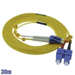 30M LC-SC 9/125 Duplex Single Mode Fiber Optic Optical Patch Cable Cord Yellow