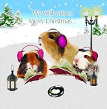 Christmas Carollers Guinea Pig Small Xmas cards 10 pack glitter detail