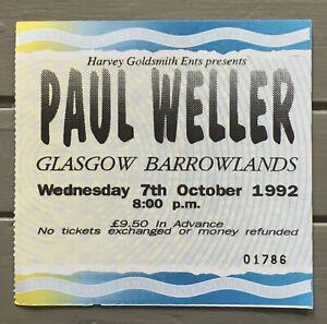 Paul Weller Concert Ticket 1992 Glasgow Barrowlands  Ex Condition