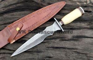 VK4135 Custom Handmade Damascus Steel hunting Dagger Knife Camel Bone Gift