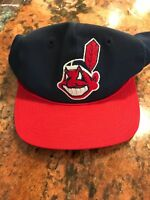 Vintage Cleveland Indians Snapback Cap Baseball MLB Hat Blue Red White Adjustabl