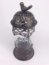 Bird Glass Candle Holder Metal Art