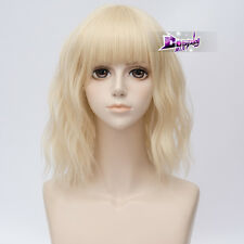 "Lolita 14"" Short Light Blonde Curly Anime Cosplay Wig+Cap Heat Resistant"