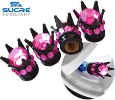 Black Crown Pink Diamond Stones Car Tire Tyre Valve Dust Caps Covers Set 4