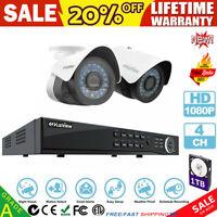4CH 1080P HDMI DVR NVR CCTV Outdoor Home Surveillance Security Camera System 1TB
