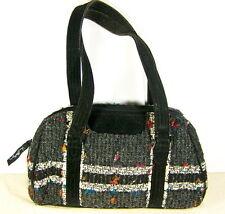 Vera Bradley Grey & White Tweed Handbag Purse Retired Zip Close Pockets