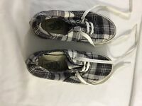 "VANS Authentic ""Off the Wall""  Gray and White Plaid Shoes Mens 4 Womens 5.5"
