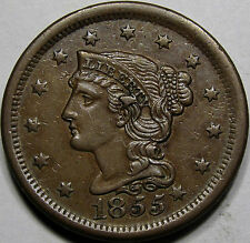 "1855 Braided Hair Large Cent Choice AU++BN... Neat Variety, N-9, ""Knob on Ear""!!"