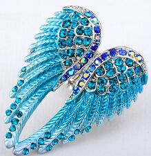 Angel Wings Stretch Ring Crystal Rhinestone Fashion Jewelry Blue RD01