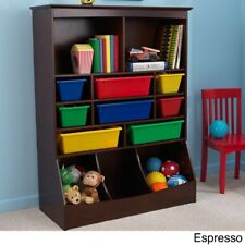 Childrens Room Furniture Wall Storage Unit KidKraft Espresso With 8 Bins