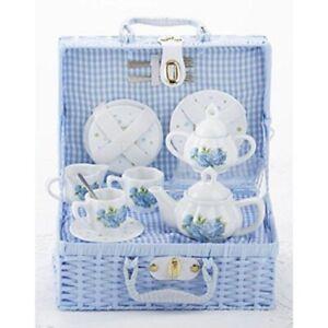 Delton Children's Porcelain Tea Set for 2 in Wicker Basket HYDRANGEA 8117-2