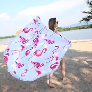 Beach Towel Round Pink Flamingo With Tassels Microfiber Picnic Blanket Beach Mat