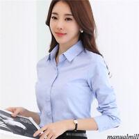 2XL Women Button Down T Shirt Long Sleeve Career Office Business OL Tops Blouse