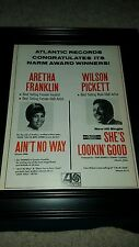 Aretha Franklin and Wilson Pickett Rare Atlantic Records Promo Poster Ad Framed!