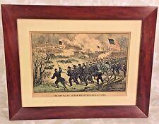 Currier & Ives Civil War Print The Battle of Cedar Mountain 1862 Matted & Framed