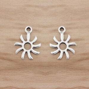 50pcs Antique Silver Sun Charms Pendants Beads Double Sided 19x14mm