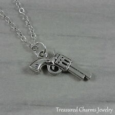 Silver Revolver Charm Necklace - Pistol Gun Ower Police Officer Jewelry NEW