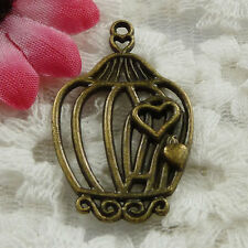 Free Ship 38 pieces bronze plated birdcage pendant 34x21mm #1342
