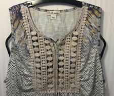 NWT World Unity Blouse Top Womens Size LARGE Sleeveless Rock Purity MULTI-COLOR