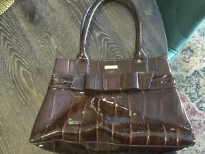 Kate Spade Chocolate Rare Croc Patent Leather  Hand  Bag