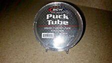 2 NHL Round Hockey Puck Holder Tube Case & ADJUSTABLE Stand Display Storage Puck