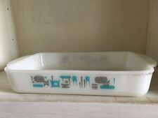 "Vintage Mid Century ""Blue Heaven"" Fire King Rectangular Casserole Brownie Pan"