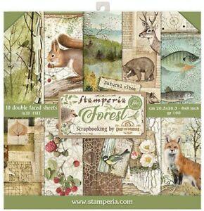 """Stamperia Forest 8x8"""" Paper Pad Motivblock Wald 10 Blatt 20,3x20,3 cm"""