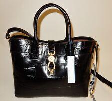 New Dooney & Bourke Croco Embossed Leather Large Amelia Tote Handbag Black