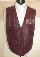 Vintage Men Burgundy Leather Vest size 44 Large USA