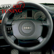 FOR NEW AUDI A4 B5 1994-01 BLACK REAL GENUINE LEATHER GLOVE STEERING WHEEL COVER