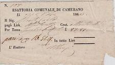 # CAMERANO 1869 - RICEVUTA ESATTORIA COMUNALE PER TASSA L. 87,87