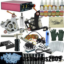 Complete Tattoo Kit 2 Gun Machine Power Supply 12 Colour  Ink Needle Nozzle Set