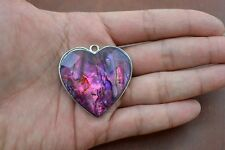 RED PAUA SHELL HEART SILVER PENDANT #P-25B