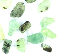 Approx. 27 GREEN Natural Prehnite Side-Drilled Nugget Teeth Beads ~10x20mm K5106