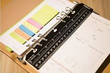 New A5 6 Hole Filofax Black Plastic Ruler Bookmark for Journal Note Book Diary
