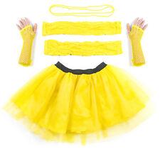 Yellow Neon UV Tutu Set Skirt Gloves Leg Warmers Necklace Womens 80s Fancy Dress