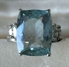 Estate Natural VVS blue 6.5 carat Aquamarine & Diamond 14k gold engagement ring
