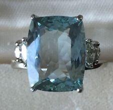Estate Natural VVS blue 6.5 carat Aquamarine & Diamond 14k gold engagement ring